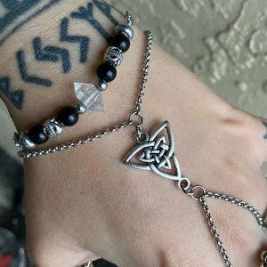 Set of 2 herkimer diamond + celtic knot bracelet